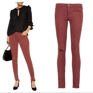 MOTHER The Looker Skinny Distressed Burgundy
